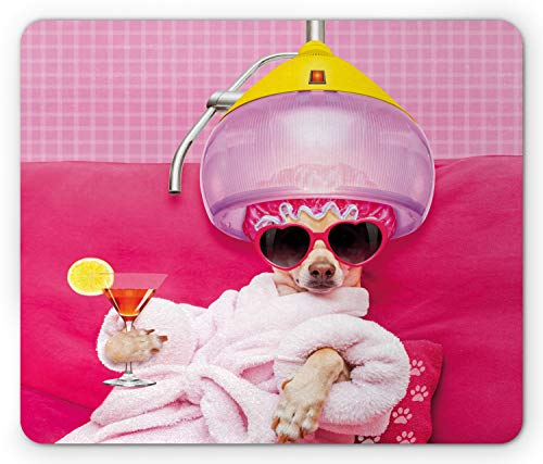 Lunarable Funny Mouse Pad, Chihuahua Dog Relaxing and Lying in Wellness Spa Fashion Puppy Comic Print, Rectangle Non-Slip Rubber Mousepad, Standard Size, Magenta Baby Pink