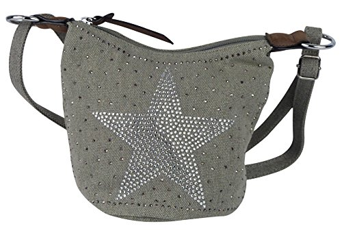 yourlifeyourstyle Kleine glitzernde Umhängetasche Stern Tasche - Damen Mädchen Teenager Tasche - Maße ohne Schulteriemen 20 x 17 x 15 cm - leicht verstärkter runder Boden (grau)