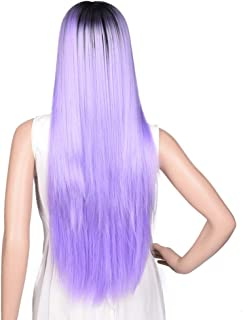 IQQI Wigs Long Straight Hair Black Purple Gradient Natural Fashion Perfect for Halloween, Concerts, Theme Parties, Weddings, Dating
