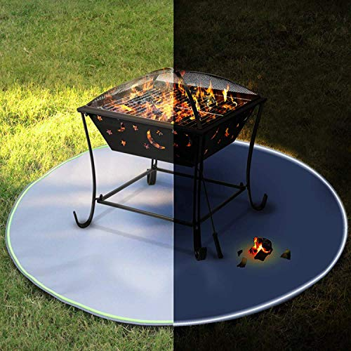 Y DWAYNE Reflective Fire Pit Mat,Round Fire Pit Pad,BBQ Grill Heat Resistant Shield,Visible at Night with Reflective Strips,for Bonfire/Grill/Stove/Grass