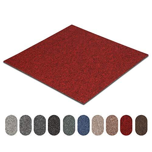 Teppichfliesen Astra   selbstliegend   Strapazierfähig und pflegeleicht   Bodenbelag für Büro und zu Hause   50x50 cm   Erhältlich in vielen Farben (Rot 320)