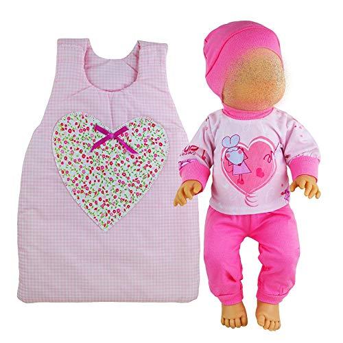Kindabox Juego de cama para muñecas de 4 piezas, para cuna o cuna, apto para muñecas de hasta 43 cm (sin muñeca).