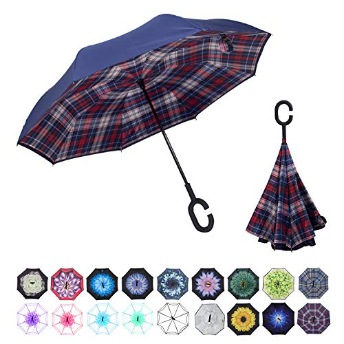 WASING Doppellagiger umgekehrter Regenschirm fürs Auto, winddicht, UV-Schutz, großer gerader Regenschirm für Auto-Regen im Freien mit C-förmigem Griff, Rot kariert Ii