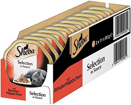 Sheba Comida para Gatos húmeda, selección de bocaditos de Ternera en Salsa, Pack de 2 (2 x 11 x 85 g)