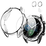 Case for Samsung Galaxy Watch 3 41mm TPU Protector Cover,Stainless Steel Adhesive Bezel Ring Anti Scratch Protective Cover+HD Glass Screen Protector-Clear+Silver