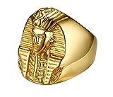 UMtrade Hombres Acero Inoxidable Egipcio faraón Anillos Antiguo Egipto Rey Cabeza Estatua Banda,Oro