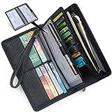 Women's Big Fat Rfid Leather Wristlet Wallet Organizer Large Phone Checkbook Holder with Zipper Pocket (Black)