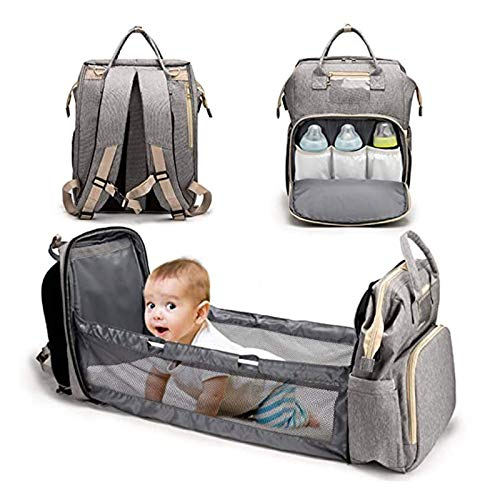 5 in 1 Foldable Bassinet Baby Bed,Portable Diaper Changing Station Mummy Bag Backpack Crib,Multifunctional Portable Travel Crib Infant Sleeper,Baby Nest with Mattress and USB Charge ( Color : Gray )