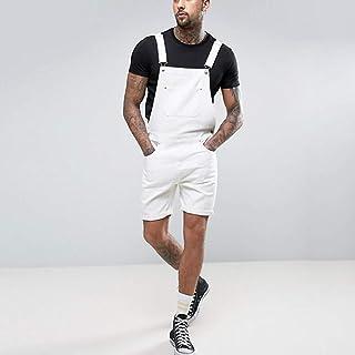 Men Jeans Bib Overalls Short Pants,Fashion Boy Dungarees Casual Retro Denim Short Trouser Jumpsuits Suspenders Brace Overa...