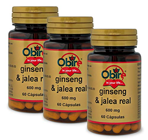 Obire Ginseng & jalea real 600 mg - 60 capsulas, Pack 3 unidades