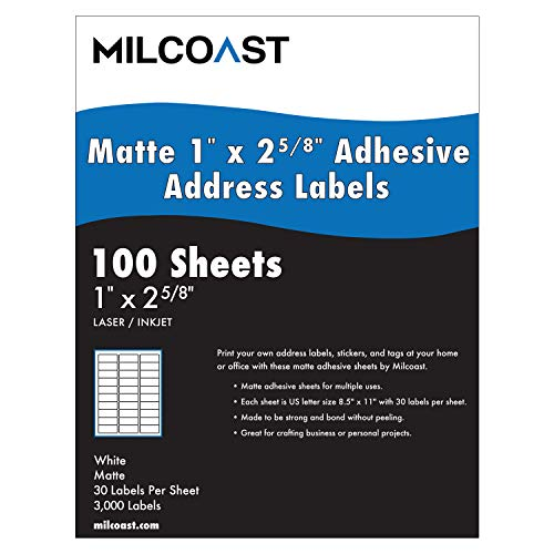 """Milcoast Matte White Adhesive Address Labels 1"""" x 2-5/8"""" - for Laser or Inkjet Printers for Shipping, Name Tags - 3000 Labels (100 Sheets)"""