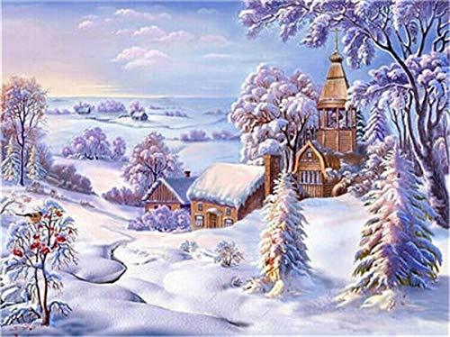 Diamante Pittura Inverno DIY Diamante Ricamo Neve Mosaico Punto Croce Decorazione della Casa Arte Pittura Diamante A3 50x70cm