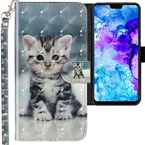 CLM-Tech Hülle kompatibel mit Xiaomi Mi 8 Lite - Tasche aus Kunstleder - Klapphülle mit Ständer & Kartenfächern, kleine Katze