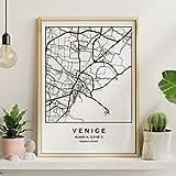 Drucken Venedig Stadtplan nordischer Stil schwarz und