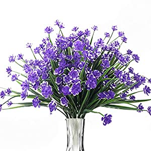 BOMAROLAN Artificial Greenery Daffodils Fake Shrubs Flowers 8 Bundles UV Resistant Hanging Planter Flora Fence Indoor Outside Decor Cemetery Decor(Purple)