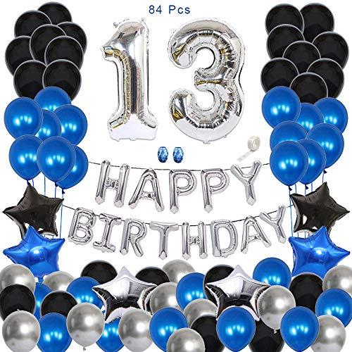 Huture Decoración del 13er Cumpleaños Feliz Cumpleaños Globo Guirnalda Banner Globo Metálico de Látex Cromado Negro Azul Plata Globo Número 13 Estrella de Corazón Papel Decoración de Cumpleaños