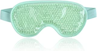 Cold Eye Mask Gel Bead Cooling Eye Mask for Puffy Eyes, Headache, Migraine, Relaxation, Reusable Plush Eye Ice Pack for Hot Cold Therapy - Green