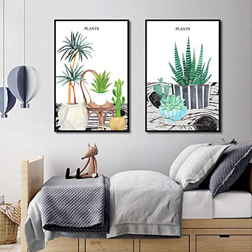 XCSMWJA Cute Anzeigen Baum Und Kleine Topfpflanzen Posterdruck Leinwand Gemälde Malerei Moderne Home Wand Kunst Dekoration 60x80cm