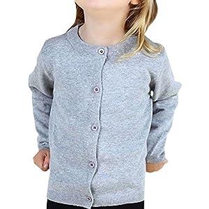 (ケイグラッソ) 子供服 シンプル 無地 カーディガン 長袖 ニット (全5色) セーター 丸首 女の子 男の子 兼用 (130 サイズ, 【 グレー 】)