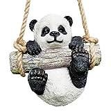 Prodbuy Home Hängender Pandabär Gartenfigur – Schaukel an Seil – Baumaufhänger Outdoor-Skulptur