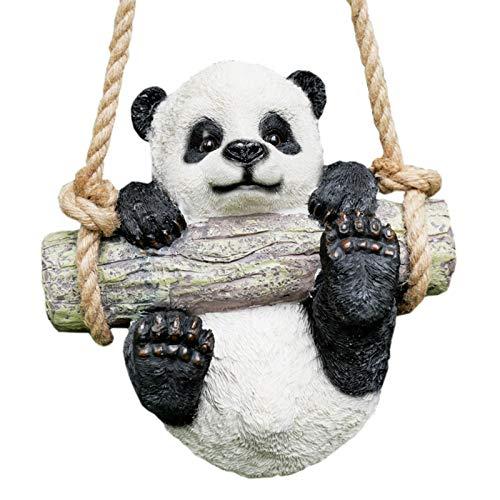 Prodbuy Home Hanging Panda Bear Garden Ornament - Swinging On Rope - Tree Hanger Outdoor Sculpture