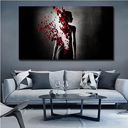 CAPTIVATE HEART Pintura de Arte en Lienzo 30x50cm sin Marco Cuadro de Arte de Pared Blanco y Negro de Mujer Desnuda de Mariposa roja Abstracta para decoración del hogar