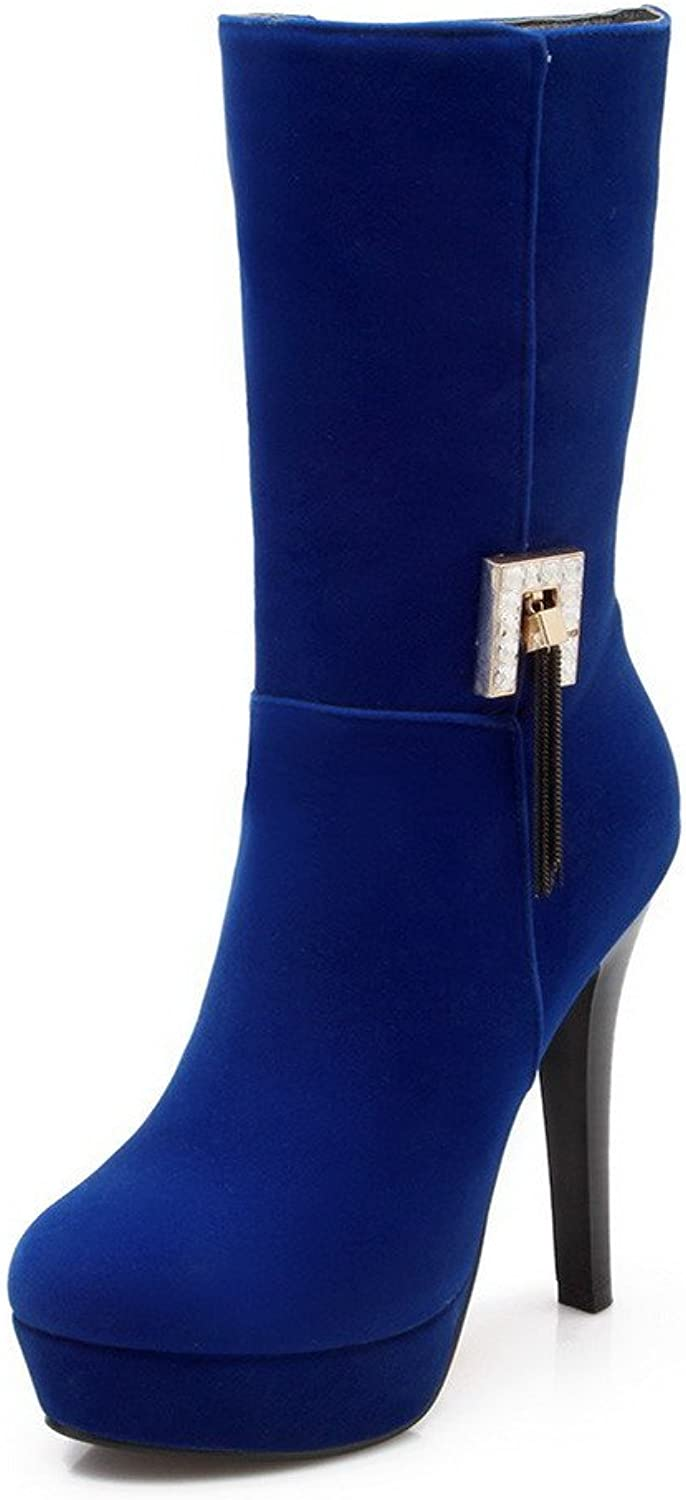 WeenFashion Women's Round Closed toe Imitated Suede Zipper High-heels Mid-calf Boots
