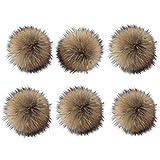 6 Unids 15 cm Faux Fox Fur Fluffy Pompom Ball con Botón de Presión Desmontable...
