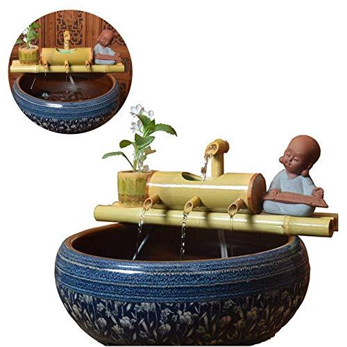 WishY Bambus-Akzentbrunnen, Garten-Solarbrunnen, Bambusbrunnen-Düse, Gartendekorationsskulptur, Dekorationsstatue,19.69in