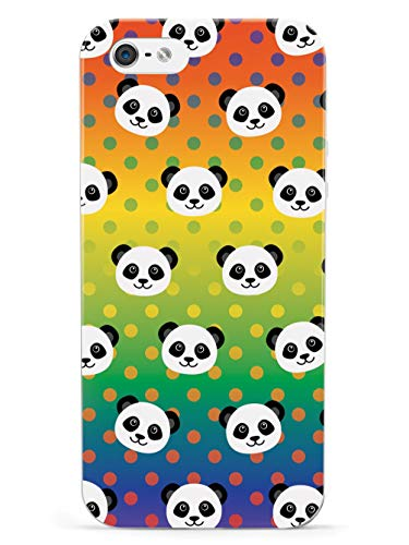 Inspired Cases - 3D Textured iPhone 5/5s/5SE Case - Rubber Bumper Cover - Protective Phone Case for Apple iPhone 5/5s/5SE - Cute Panda Pattern - Rainbow Polka Dots