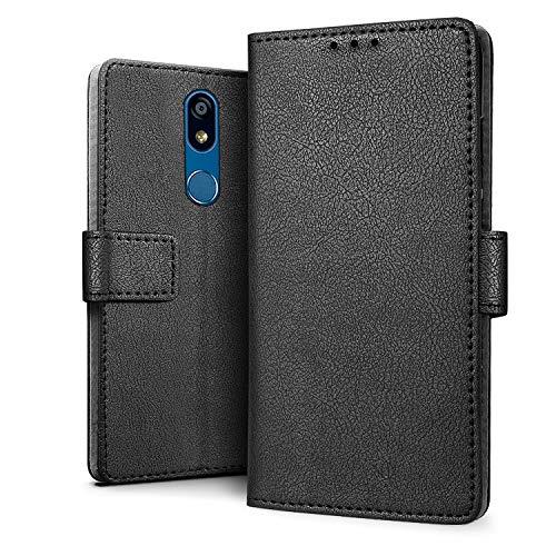 HDRUN LG K40 Hülle - Premium PU Leder Flip Tasche Case mit Kartensteckplätzen und Ständerfunktion Schutzhülle Handyhüllen Kompatibel mit LG K40, Schwarz