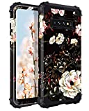 Lontect for Galaxy S10 Plus Case Floral 3 in 1 Heavy Duty Hybrid Sturdy High Impact Shockproof Protective Cover Case for Samsung Galaxy S10 Plus, Flower/Black
