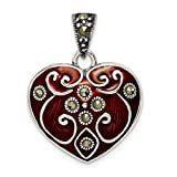 925 Sterling Silver Red Enamel Marcasite Heart Pendant Charm Necklace Love Ful Fine Jewelry For Women Gifts For Her