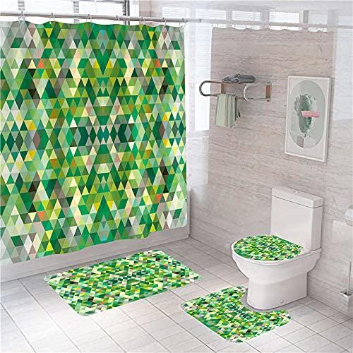3D Gedruckter Duschvorhang 180x200 cm Gelbgrünes geometrisches Mosaik Wasserdicht Antibakterielles Duschvorhang gesetzt Polyester rutschfest Badematte Waschmaschinenfest