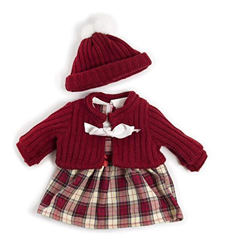 Miniland Conjunto Frio Vestido para muñecos de 40cm, Color rojo 38-40 cm 31558