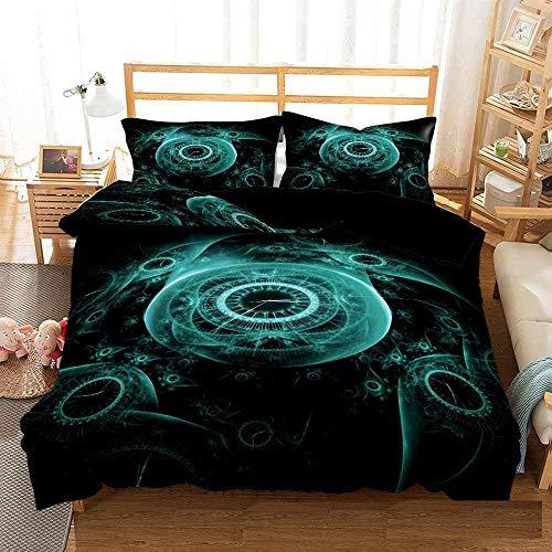 Bedclothes-Blanket bettbezug,3D Bett Einzelbettwäsche-Quilt-Set dreiteilige Uhr-140 * 210_zweiundzwanzig