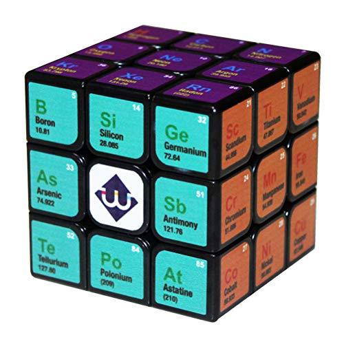 PPu Cubo de Velocidad para Adultos, Tercer Orden Cubo químico de Rubiks Tabla Elemento Juguetes educativos Herramientas de Aprendizaje Regalo Impresión en UV No Pegatinas