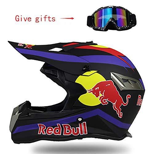 FHGH Fullface Helm,Motorradhelm Integral-Helm Motocross-Helm DOT/CE-Zertifizierung Herrenlokomotive Bergrennen Downhill-Fahren Integralhelm Schutzbrille Red Bull