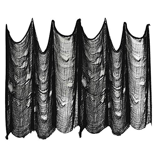 2m*5m Panno Creepy Decorazione di Halloween Nero,Tissu Halloween Décoration Noir Tissu Effrayant Halloween Panno inquietante nero Panno inquietante Panno infestate spettrali Decorazioni Rifornimenti