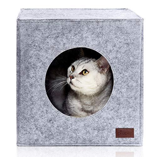 PiuPet® Premium Kattenbed incl. Kussen, geschikt voor bijv. IKEA® Kallax & Expedit Planken, Katten bedden in grijs, Gezellige kat huis, Kattenmand