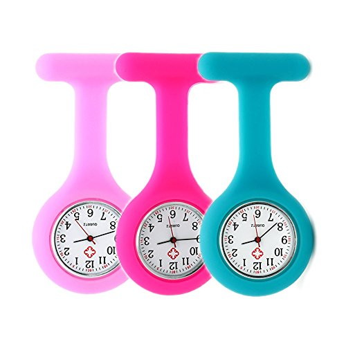 Set of 3 Nurse Watch Brooch, Silicone with Pin/Clip, Infection Control Design, Health Care Nurse Doc