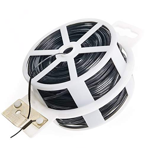 BEADNOVA Twist Tie 328 Feet (100m) Bread Ties Gardening Ties Black Plant Ties Multipurpose Plastic Coated Plant Twist Tie with Cutter for Potted Plants Garden Office and Home