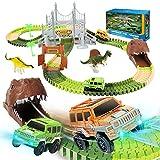 EagleStone Dinosaur Toys Race Car Track Set 194 Pcs for...