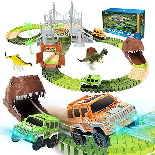 EagleStone Dinosaur Toys Race Track Set 194 Pcs for Kids,Flexible Train...