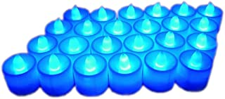 Little bees 24Pcs Electric LED Tealight Bright Mood Candle Realistic Battery Operated Tealight Wedding Party Confession Festival Decoration Fake Candle (Blue)