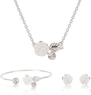 MJARTORIA Femme Bijoux Parure Collier Bracelet Boucles doreilles Pendentif Arbre de Vie Sweater Clavicule Famille Mere 1 Set