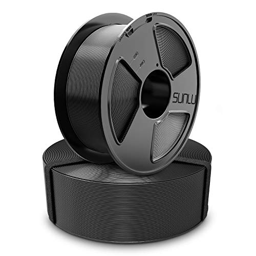 3D Printer Filament, PETG 1.75mm Master Spool, SUNLU PETG 3D Filament, Dimensional Accuracy +/- 0.02 mm,Negro + Negro, 2KG