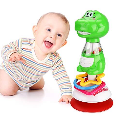 Achort Rasselspielzeug für Babys 3 Monate Hochstuhlspielzeug mit Saugnapf Tischspielzeug für sensorisches Spielen Jungen Mädchen Bildung Esstischwagen Saugnapf Spielzeug