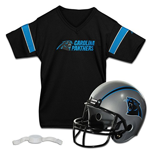 Franklin Sports NFL Carolina Panthers Kids Football Helmet and Jersey Set - Youth Football Uniform Costume - Helmet, Jersey, Chinstrap - Youth M
