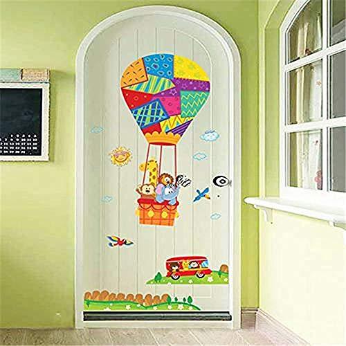 YFKSLAY Wandaufkleber Cartoon Bunte Tiere Heißluftballons Auto Vogel Wiese Zaun Kinderzimmer Korridor Wanddekoration Tür Aufkleber Abziehbilder